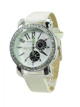 Dámské hodinky s kamínky, bílá