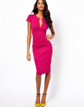 Elegantní sexy šaty s V výstřihem, růžová