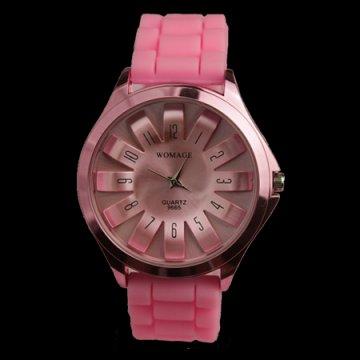 Dámské hodinky se silikonovým páskem, růžová