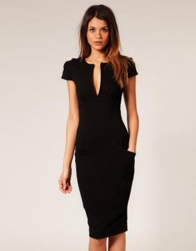 Elegantní sexy šaty s V výstřihem, černá
