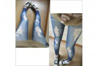 Legíny - potisk džínový roztrhaný, modré