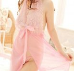 Krásná krajková košilka, růžová