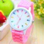 Dámské hodinky s barevným ciferníkem, růžová