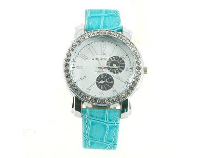 Dámské hodinky s kamínky, modrá