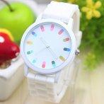 Dámské hodinky s barevným ciferníkem, bílá